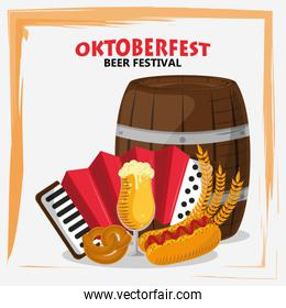 oktoberfest celebration poster with beer barrel and accordion