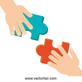 Puzzle and hand of teamwork design