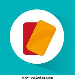 Red and yellow card of soccer sport