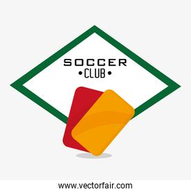 Red and yellow card of soccer sport design