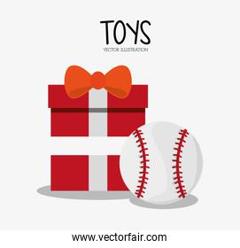 Baseball toy and game illustration