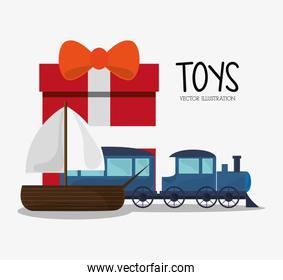 Train and sailboat toy and game design
