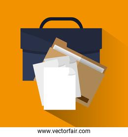 Suitcase and file of office and work design