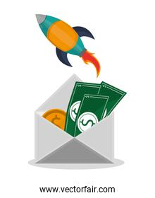 Envelope and rocket of office and work concept