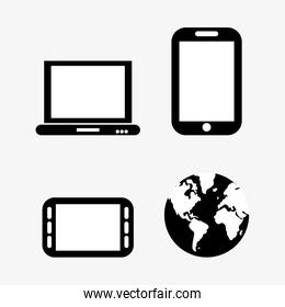 Laptop smartphone and planet design