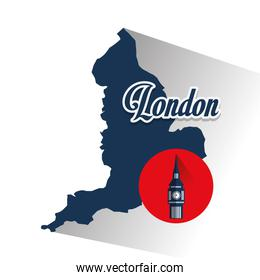 Isolated map and big ben design