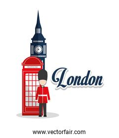 Isolated Big ben telephone and soldat design
