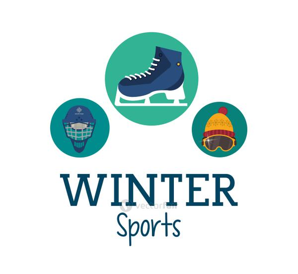 Ice skate and winter sport icon set design
