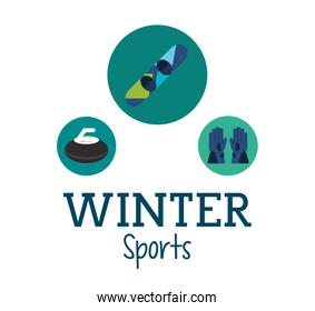 Snowboard and winter sport icons set