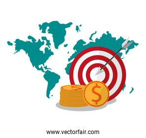 Target map coins and digital marketing design