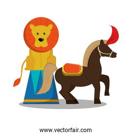 Lion and horse of carnival design