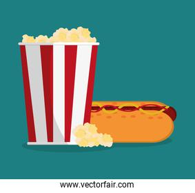 Pop corn and hot dog of carnival design