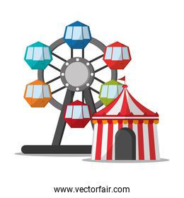 Ferris wheel and tent of carnival design