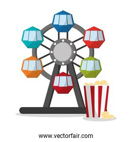 Ferris wheel and pop corn of carnival design