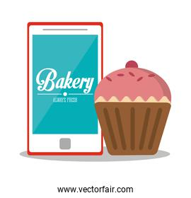 Muffin and smartphone of bakery design