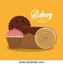 Muffin and bread of bakery design