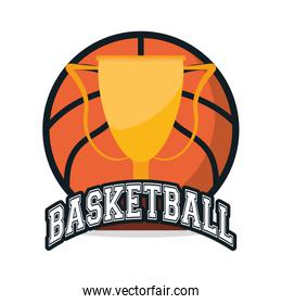 Ball and trophy of Basketball sport design