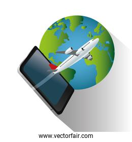 Smartphone airplane and planet design