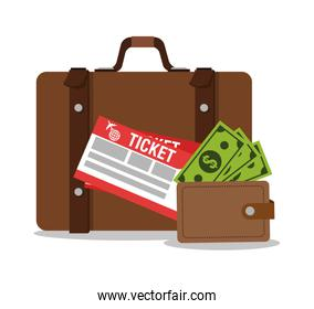 Suitcase wallet and tickets for travel design