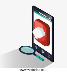 Smartphone with lupe and seo design