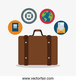 Suitcase to travel and icon set design