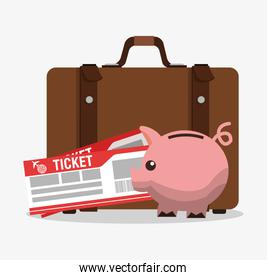 Suitcase piggy and tickets to travel design