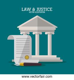 Building and document of law and justice design