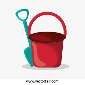 Sand bucket of summer and vacation design