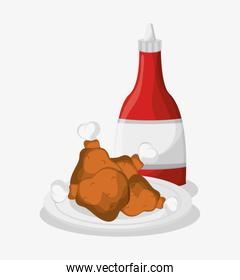 roasted chickens and ketchup bottle
