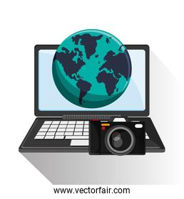 Laptop of travel and tourism concept