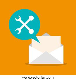 Tools and envelope of mail concept