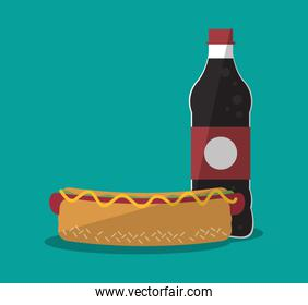 Hot dog and icon set of fast food concept