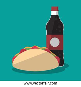 Taco and soda of fast food concept