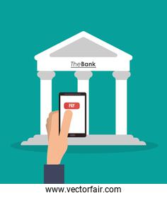 Bank and smartphone of money concept