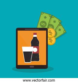 Soda and tablet of fast food concept
