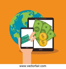 Smartphone and tablet of money concept