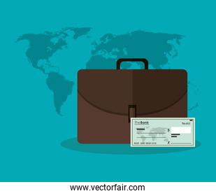 Suitcase check and map of money concept