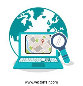 Laptop and gps map design