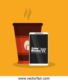 Smartphone of cyber monday and shopping design