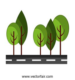 Isolated street and trees design