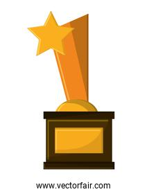 Isolated gold trophy with star design