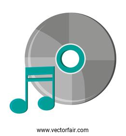 Isolated music note and cd design