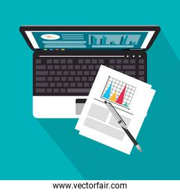 Laptop infographic and Worktime design