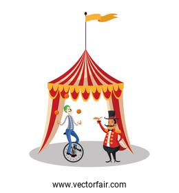 Tent and clown of circus and carnival design