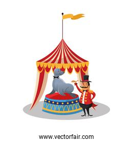 Tent and seal of circus and carnival design
