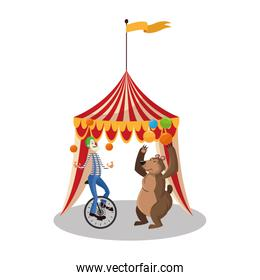 Clown and bear of circus and carnival design