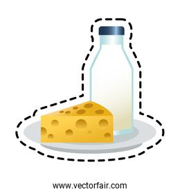 Isolated milk bottle and cheese design