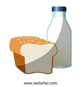 Isolated milk bottle and bread design
