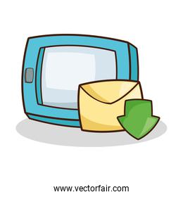 Isolated tablet with envelope cartoon