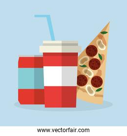 Pizza food and soda design
